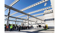 Panoramic shot with Thomas Kaeser at the topping out ceremony for production hall 11 in Coburg.